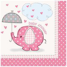 Pink Elephant Baby Shower Beverage Napkins, 16ct