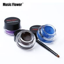 Music flower marca negro waterproof eyeliner gel eye liner gel eyeliner cosmético con el cepillo 24 horas de larga duración de alta calidad(China (Mainland))