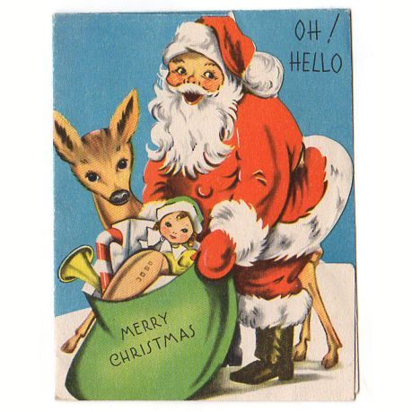 Vintage 1940s Christmas Card Santa Claus with Reindeer and Bag of Toys with Nurse Doll