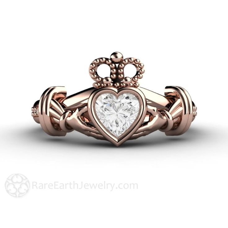 Diamond Claddagh Ring Irish Engagement Ring Promise Ring 14K White Yellow or Rose Gold Palladium by RareEarth on Etsy https://www.etsy.com/listing/186344248/diamond-claddagh-ring-irish-engagement