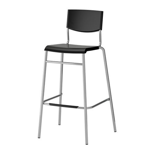 STIG  Bar stool with backrest, black, silver color  $19.99  The price reflects selected options  Article Number: 801.552.05  Stackable; saves space when not in use. Footrest for extra sitting comfort.