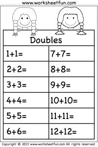 Addition Doubles – 1 Worksheet: Math Double, Addition Doubles, Basic ...