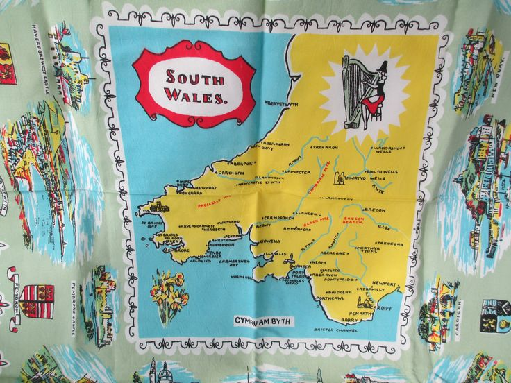 "Vintage South Wales Card Tablecloth, Welsh Linen Souvenir Map Table Cloth 30"" x 37"" by retrogal415 on Etsy https://www.etsy.com/listing/552879018/vintage-south-wales-card-tablecloth"
