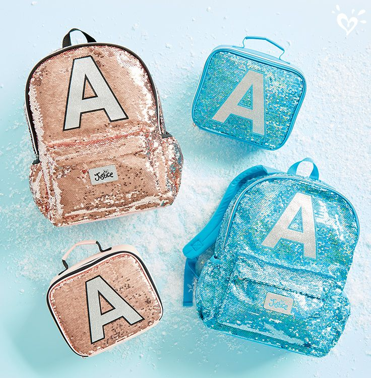 Say it in sparkle from A-Z. Justice Initials collection has the perfect backpack and matching lunch boxes to make every day shine!