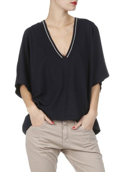 Pull en coton oversize manches courtes Bleu by LA FEE MARABOUTEE