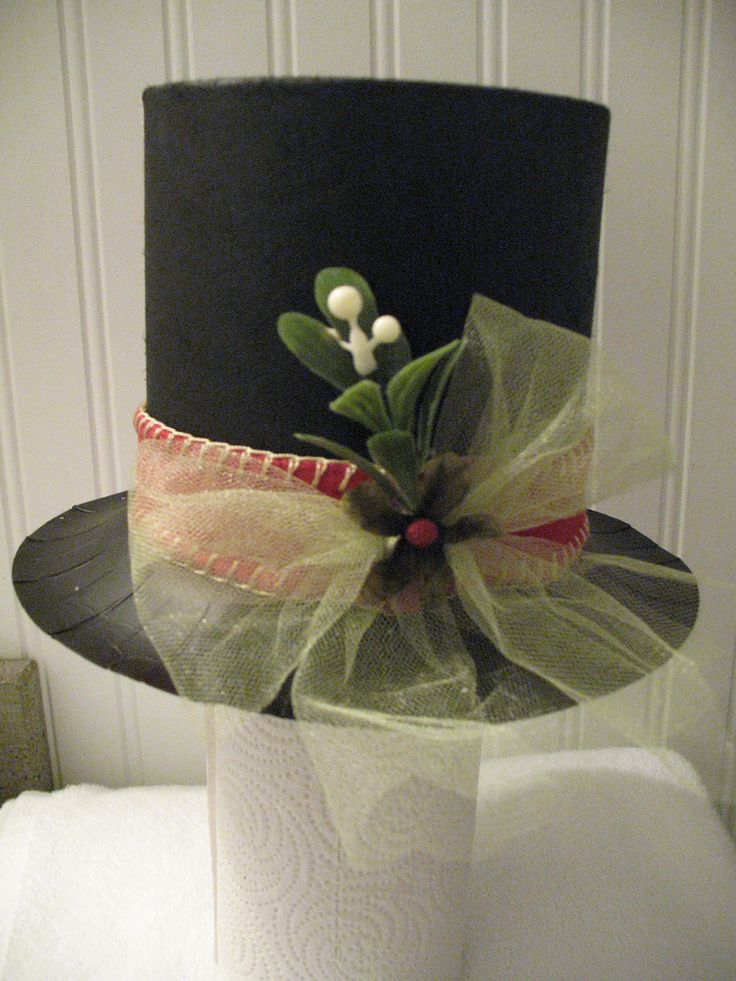 Frosty hat made from 1/2 oatmeal box and paper plate sprayed black with embellishments added. Made as a tree topper for friend's snowman Christmas tree. Lightweight and does not topple tree top.