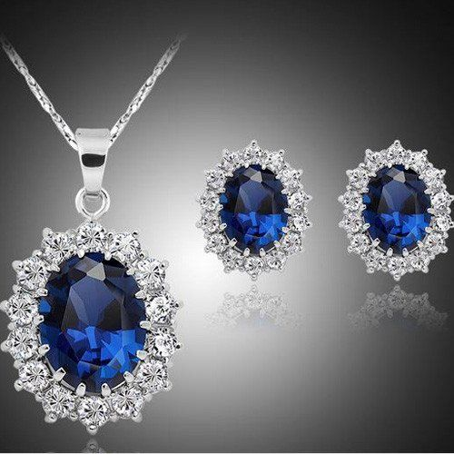 Absolutely Stunning Simulated Sapphire and Diamond Necklace and Earrin – UCHARMME.co.nz