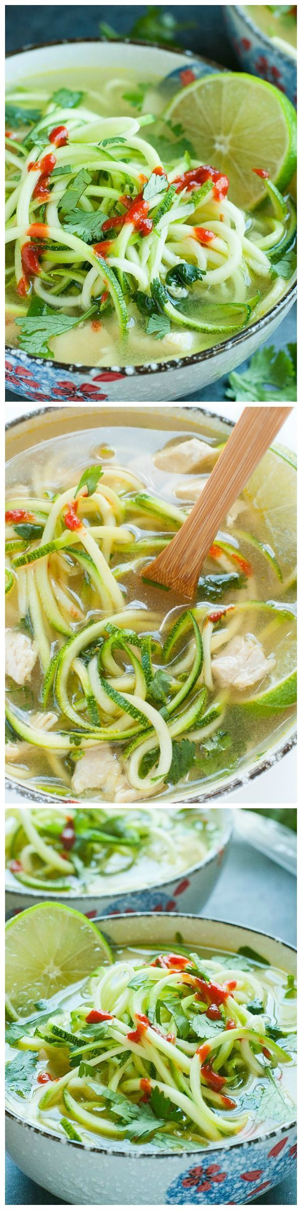Spicy Sriracha and Lime Chicken Zoodle Soup - Easy and healthy low-carb soup you will instantly love!! #zoodles