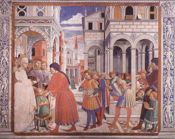 """The School of Tagaste"", 1465. Benozzo Gozzoli (), Fresco Apsidal Chapel of Sant' Agostino, San Gimignano, Italy."