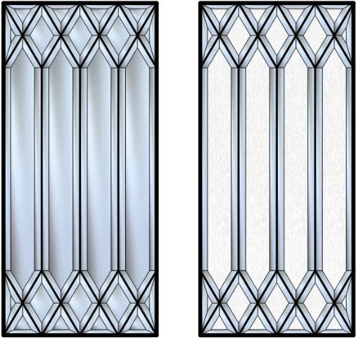 Stained Glass Kitchen Cabinet Doors Patterns: This Hand Cut Diamond Beveled Glass Design Harkens Back To