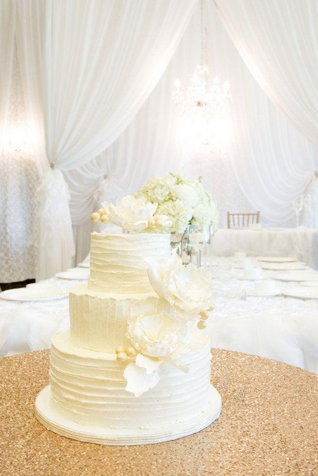 White wedding cake with white peony flowers - Vintage-Inspired White Glamorous Wedding Wedding - Haley Photography @joannehaley23