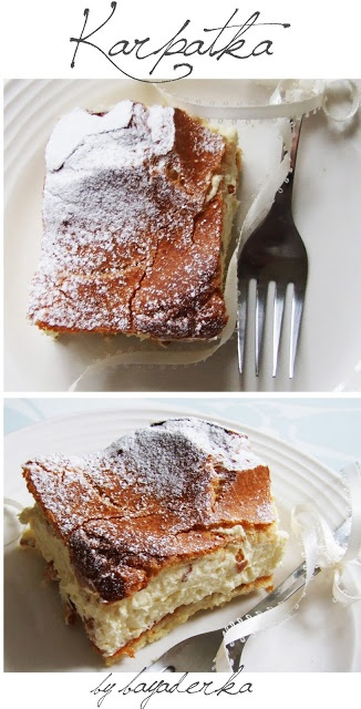 Karpatka...This Polish Carpathian Mountain cream cake recipe is known as karpatka. It's a peasant version of the more refined kremówka, which is made with puff pastry. Karpatka is made with the same type of dough used to make cream puffs and éclairs, known as pâte à choux in French. When dusted with confectioners' sugar, the dessert takes on the look of the craggy, snow-capped Carpathian Mountains, hence its name.