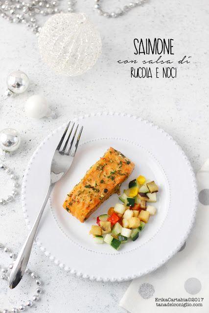 La tana del coniglio: Salmone con salsa di rucola e noci