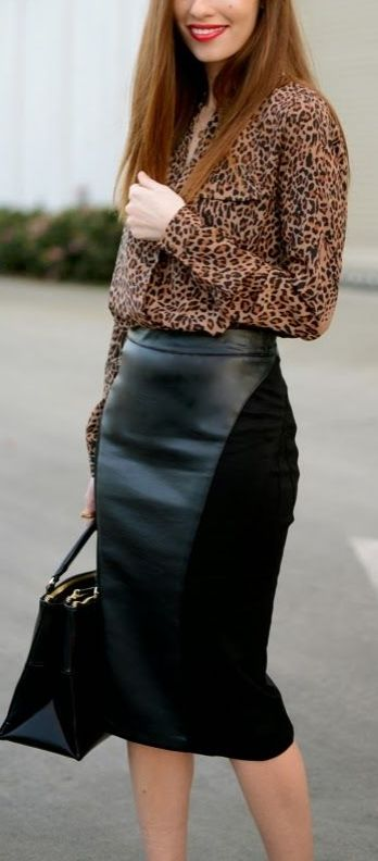 We love playing with different textures in the fall, especially leather! Switch up your normal jean and sweater routine with a fabulous faux leather pencil skirt! Pair with your favorite sweaters, chiffon blouses and more! How would you style this trend?
