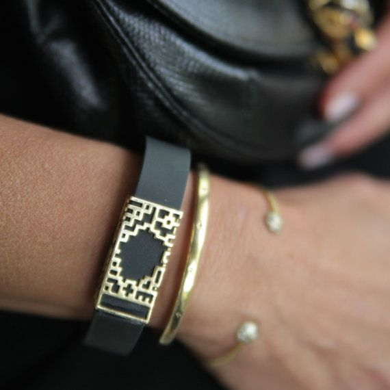 polished brass lucas slide for Fitbit Flex by bytten on Etsy