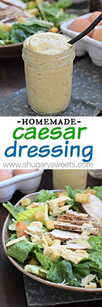 This Homemade Caesar Dressing is made with hard boiled eggs (no raw yolks here!). So creamy and delicious! @ohiopoultry #ohioeggroll