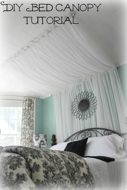 41939840253698167 DIY Bedroom Furniture :DIY Canopy Bed : DIY Bed canopy Curtains