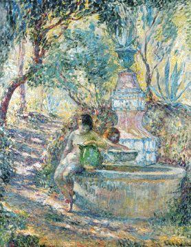 """""""Saint-Tropez, deux jeune filles à la fontaine"""" (Saint-Tropez, two young girls at the fountain)"""