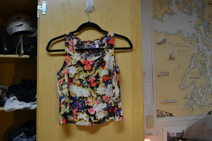 """Bright Colored Floral Crop Top with Mostly Open Back, size extra small, can get tight in the armpits (this is the shirt I'm wearing in my profile pic on my """"Mattea"""" Facebook Profile, btw) MP"""