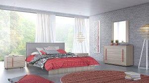 Ντυμένη κρεβατοκάμαρα κομπλέ με στρώμα και ύφασμα επιλογής σας. Κρεβάτι :207x 172cm (στρώμα 150x 198cm) Κομοδίνο:60×43 cm (πόμολα διαθέσιμα σε πράσινο & κόκκινο) Συρταριέρα :120 x45cm (πόμολα διαθέσιμα σε πράσινο & κόκκινο) Tα κομμάτια πωλούνται και ξεχωριστά.
