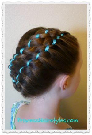 #hairstyle Diagonal stacked ribbon braids tutorial