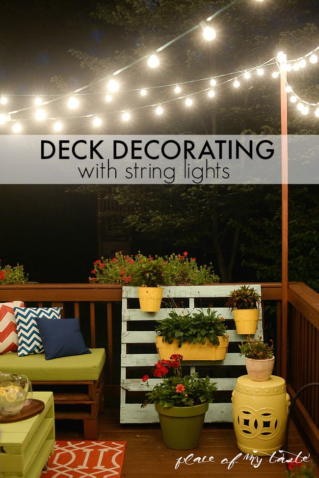 Deck Decorating with string lights-