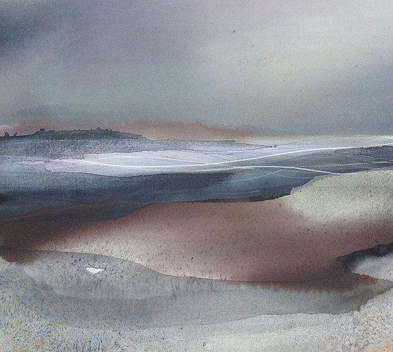 Paysage - grande aquarelle - Original peinture, technique mixte abstraites, contemporaines Art abstrait / Minimal peinture - Art moderne