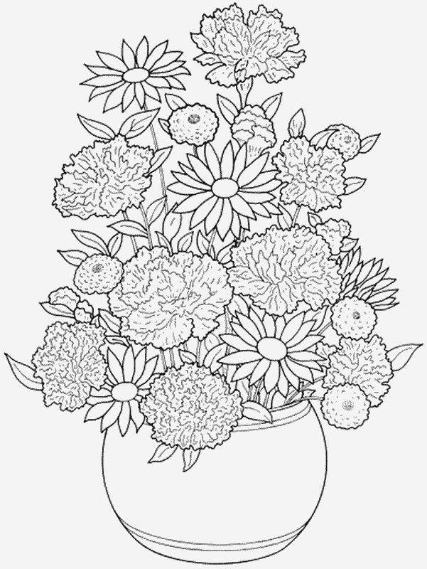 Flowers 003 Coloring Pages For Kids Elephant Coloring