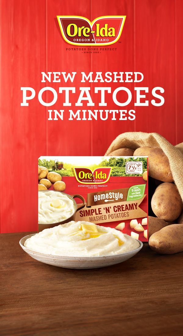 New Ore-Ida® Mashed Simple 'N' Creamy Mashed Potatoes. Just 7 1/2 minutes in the microwave for the perfect side.