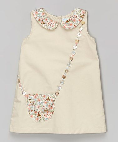 Beige Floral Purse A-Line Dress - Infant & Toddler #zulilyfinds