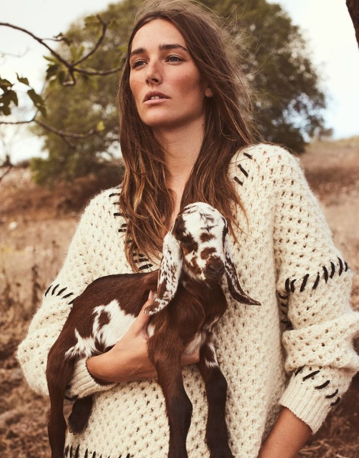 Posing with a goat, Josephine le Tutour wears Isabel Marant sweater for The Edit Magazine January 2017 issue