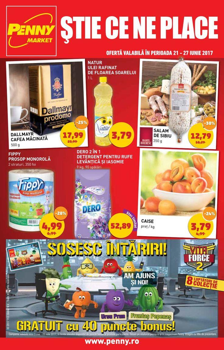 Catalog Penny Market 21 - 27 Iunie 2017! Oferte si recomandari: salam de Sibiu 12,79 lei/350g; telina cu frunze 1,69 lei; cartofi 6,49 lei; mango