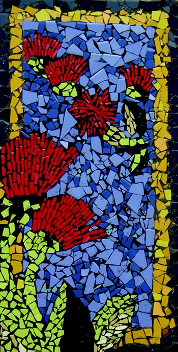 Auckland NZ Pt Chevalier School kids art! : Smash tile mosaic POHUTAKAWA house