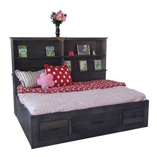 Amish Brooklyn Platform Bed with Bookshelf ($1,782) ❤ liked on Polyvore featuring home, furniture, beds, full size bed, full platform bed, book-shelves, double storage bed and full bed