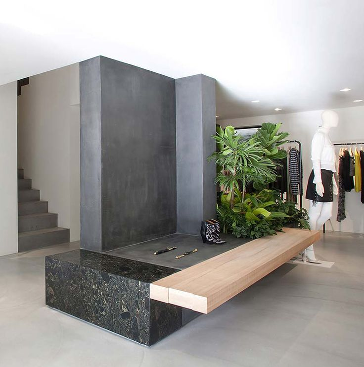 Seoul store || Design: Cigue || Materials: concrete, plaster, sapele wood, steel, and granite