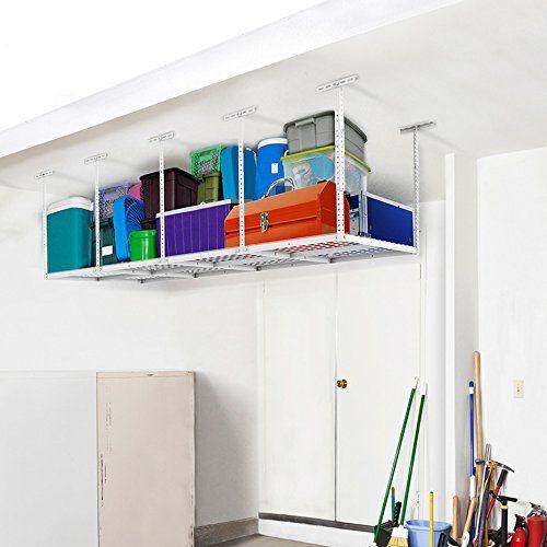 FLEXIMOUNTS 3x8 Overhead Garage Storage Rack Adjustable Ceiling Storage Rack Hea