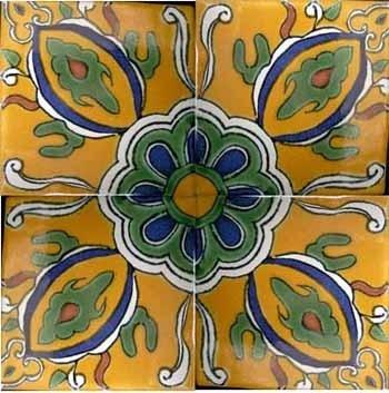 Yellow Kaleidoscope 4''X4'' Tile