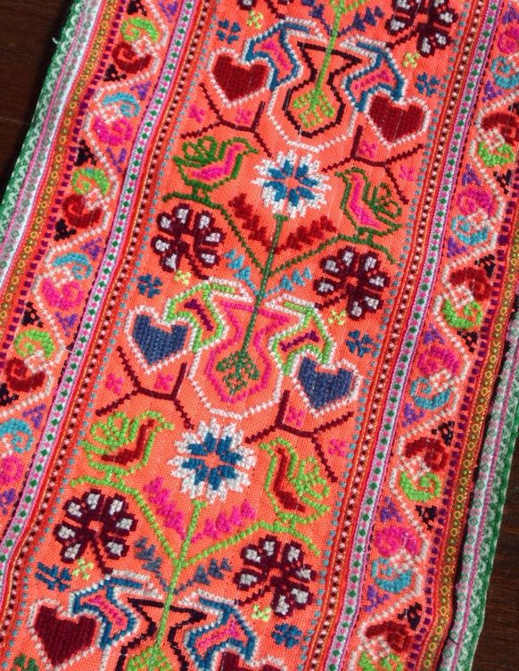 Vintage Handmade Hmong Fabric embroidered by KutchiKooTribe, $12.00