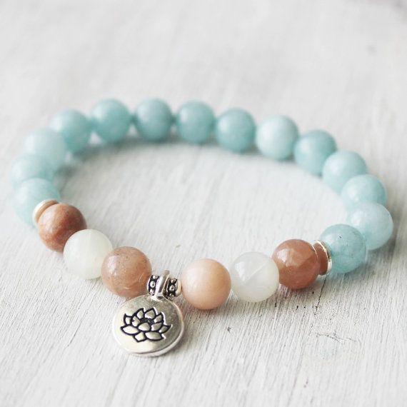 Wrist Mala Yoga Jewelry Nature Bracelet, Ocean bracelet, Lotus Jewelry - Aquamarine, Sunstone, Moonstone