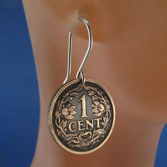 antique NETHERLANDS COIN earrings dutch coin by PartsForYou, $18.95