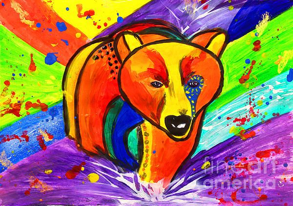 Bear Pop Art by Fine Artist Julia Apostolova This image is a print of original SOLD Acrylic Hand Made Pop Art ''Bear''. The original Contemporary Pop Art modern painting is painted on gallery wrapped acid free canvas. Only fine quality art materials have been used. Final coat of fine art varnish was applied to preserve your investment against UV and dust. Signed and dated by the artist.The original Pop Art ''Bear'' has been sold, but Similar Painting Can Be Recreated.
