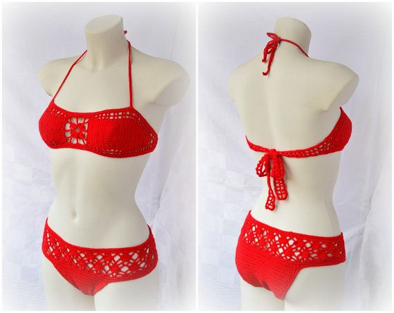 Bandeau red high waisted bikini, crochet beachwear, retro bathing suit, floral bikini, bikini bottoms, new style bikini, glamour bikini 2014... ::: From Sexy Crochet on Etsy. Cute design. Lorr