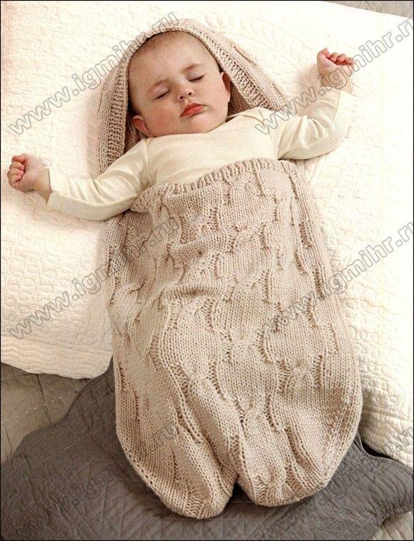 Спальный мешок из мягкой шерсти для сладких снов малыша. Спицы