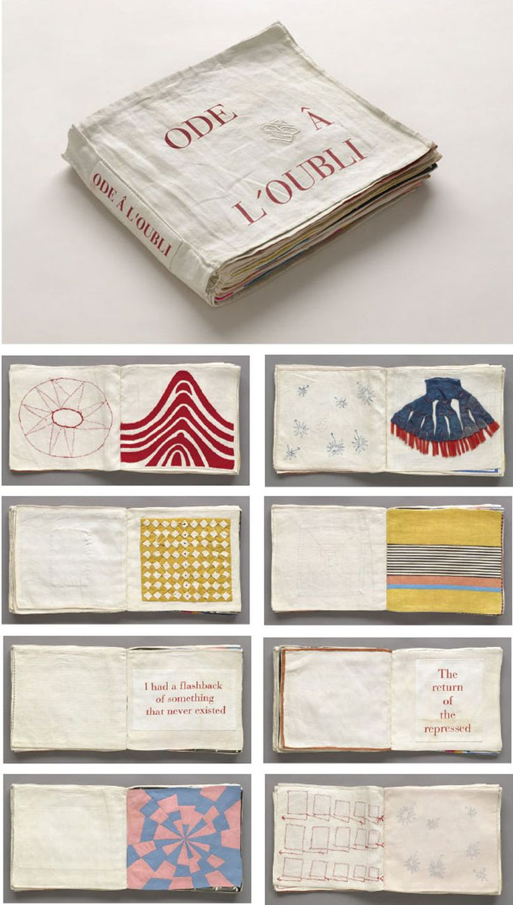 """Found this unique illustrated fabric book in the archives of the Museum of Modern Art (MOMA), New York. The English translation of the title is """"Ode to Forgetting"""". The pages are composed of fabric…"""