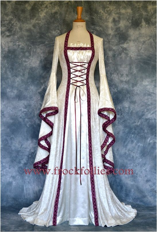 Mara ,a Medieval, Renaissance, Larp, Pagan, Pre-Raphaelite Custom Made Wedding Gown via Etsy