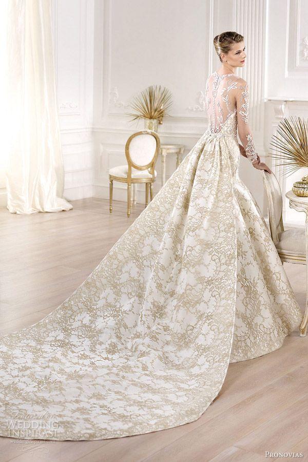 pronovias 2014 atelier bridal collection yolima gold lace wedding dress back train