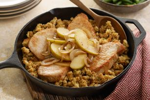 Stuffing-Topped Pork and Apple Skillet Recipe - a 30-minute main dish for your family - all in one pan!