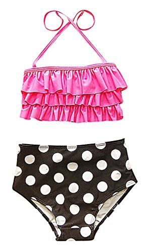 Sweety Baby Girls 2 Piece Ruffled Top High Waist Polka Dot Bandeau Bikini Set 1 45 years *** Be sure to check out this awesome product.