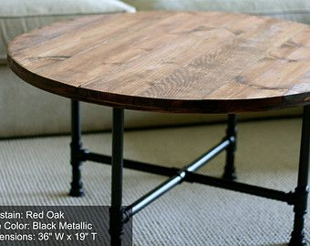 "Round Coffee Table, Industrial Wood Table 30"" X 20"", Reclaimed Wood ..."