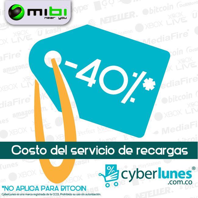 Este lunes 2 de Diciembre recibe un 40% DE DESCUENTO.  Sí! 40% de descuento!  Prepárate para el Cyberlunes con mibi.  www.mibirecargas.com